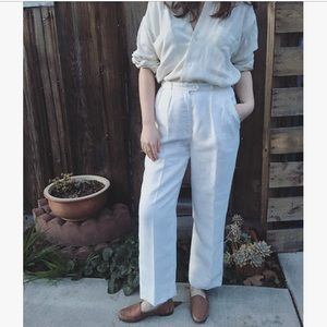Vintage white linen high waist trousers pants 29""